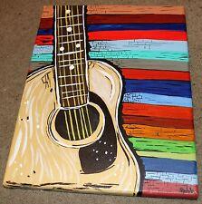 "Contemporary Modern Painting ""Folk Guitar""-Original-12 x 14"