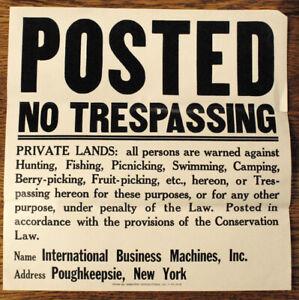 IBM POUGHKEEPSIE Posted No Trespassing sign