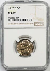 1947-D 5C NGC MS 67 Jefferson Nickel