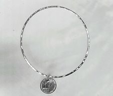handmade sterling silver bangle with coin charm celebrity style