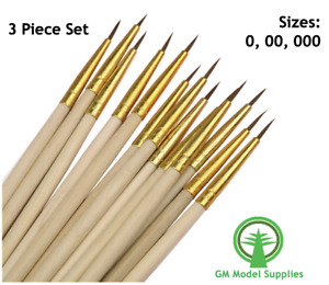 Fine Detail Paint Brush Set of 3 Size 0, 00, 000 for Model Making, Hobby, Craft