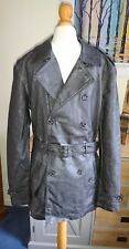 MEN'S RIVER ISLAND TRENCH COAT FAUX LEATHER GREY SIZE XS NEW WITH TAGS