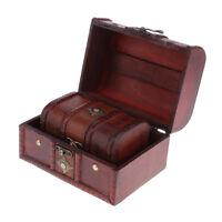 2PCS Retro Wooden Jewelry Storage Box Treasure Chest Organizer Home Decor