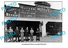 OLD LARGE PHOTO OF GOONDIWINDI GARAGE c1936 QLD, PETROL BOWSER