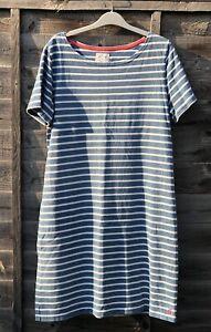JOULES Riviera Dress in Light Blue with White Breton Stripe UK 16