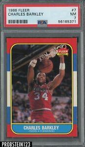 1986 Fleer Basketball #7 Charles Barkley Philadelphia 76ers RC Rookie HOF PSA 7