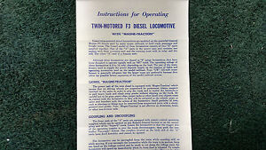 LIONEL # 2373 TWIN-MOTORED F3 DIESEL LOCOMOTIVE INSTRUCTIONS PHOTOCOPY