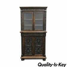 Antique Corner China Cabinet Cupboard Renaissance Revival Belgian Carved Oak