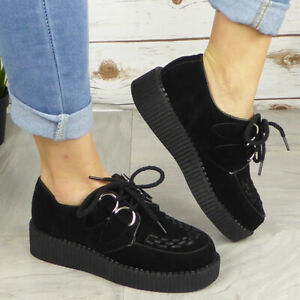 Ladies Creepers Trainers Womens Goth Punk Lace Up Flat Platform Pumps Shoes Size