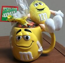 Vintage M&M's Yellow Oversized Ceramic Mug With Plush Character  — New