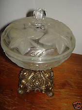 VTG GLASS GRAPE CANDY BOWL LID METAL PEDESTAL STAND