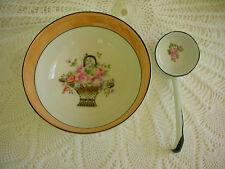 Noritake Japan Porcelain Footed Mayo Bowl Dipper Ladle Pink Rose Basket Lustre
