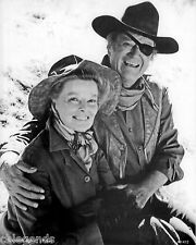 "John Wayne & Kathryn Hepburn in ""Rooster Cogburn""  8x10 B & W Reprint Photo X-12"