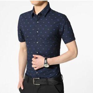 Mens Dress Shirts Short Sleeves Luxury Casual Plaids Checks Slim Camisas Shirts