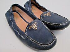 Prada Ballet Flats driving shoes moccasins scrunch Logo slipper stitched sz 35 5