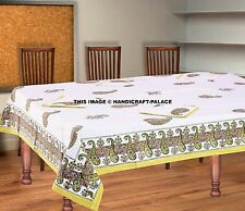 Block Print Table Cloth, Table Cover 220 cm x 150 cm With 6 pc Napkin Tablecloth