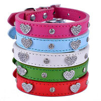 5 Colour Heart Dog Rhinestone Collar Diamante Bling Xs Small chihuahua new bling