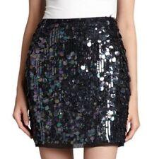 NWT $498  Elie Tahari  Alexis Sequence Black Silk Pailettes Lined Mini Skirt 4