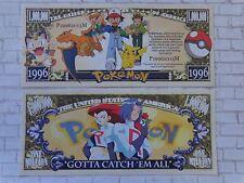 POKEMON Pocket Monsters Show ~ $1,000,000 One Million Dollar Bill: United States