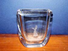 Skruf Signed Studio Art Glass Etched Girl Birds Sweden Vase Crystal