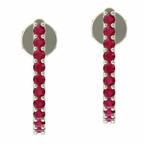 Women's Day 0.44 Natural Ruby Stud Earrings 10k White Gold Jewelry