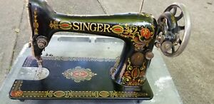Antique Singer Treadle Sewing Machine Red Eye - Absolutely Beautiful Graphics -