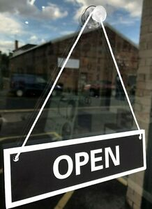 OPEN & CLOSED SHOP / BUSINESS DOOR / WINDOW 5mm RIGID HANGING SIGN - ANY COLOUR