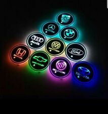 2PCS LED Car Logo Cup Holder Coasters