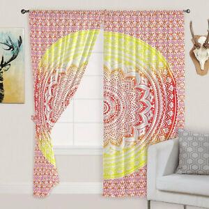 Yellow Mandala Hippie Window/Door/Arch/Balcony Curtain Tapestry Boho Home Decor