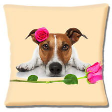 "NEW TAN WHITE JACK RUSSELL PINK ROSES LOVE VALENTINE 16"" Pillow Cushion Cover"