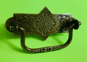 "1875 Brass Art Nouveau Victorian Eastlake Antique Bail Drawer Pull 3"" centers"
