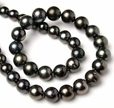 "Tahitian genuine natural black pearl necklace 20"" huge 11-12mm round"