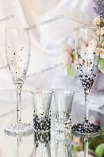 Swarovski Crystal Pearl Personalized Wedding Champagne Toast Glass Flutes Black