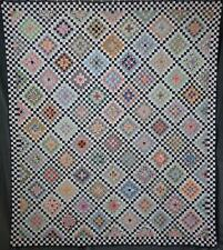 "Amazing Vintage Tiny 7/8"" Pieces QUILT 80x70 Checkerboard Border"