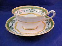 "VINTAGE GROSVENOR TEA CUP AND SAUCER - ""BRISTOL FESTOON"" - GARLAND AND FLORAL"