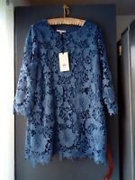 WOMENS EMMA BLACK MID BLUE LACE LINED TOP 3/4 SLEEVED ROUND NECK UK 22