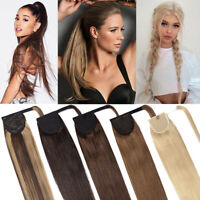 Thick Straight Wrap On Ponytail 100% Real Remy Human Hair Clip in Extensions A68