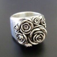Women Vintage 925 Silver Handmade Carved Rose Flower Ring Bride Wedding Jewelry