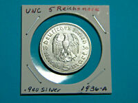 UNC WW2 Germany 🇩🇪  5 Mark Silver Coin Third Reich Reichsmark Hindenburg 1936A