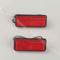 2x 27 Red LED Motorcycle Rectangle Reflector Brake Stop Marker Tail Rear Light
