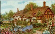 VINTAGE SALMON ART  postcard:  ANNE HATHAWAY'S COTTAGE STRATFORD-ON-AVON 3702