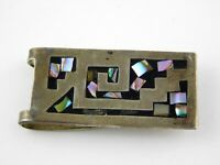 Vintage Taxco Mexico Sterling Silver Abalone Black Enamel Inlay Money Clip 925