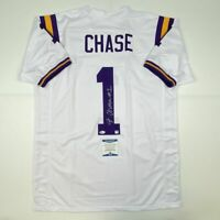 Autographed/Signed JA'MARR CHASE LSU White College Jersey Beckett BAS COA Auto