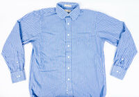 Michael Kors Mens Blue Striped Dress Shirt Size L 16 34/35