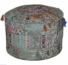 "Indian Cotton Patchwork Vintage Round Ottoman Pouf Throw 14X22"" Footstool Cover"