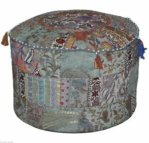 """Indian Cotton Patchwork Vintage Round Ottoman Pouf Throw 14X22"""" Footstool Cover"""