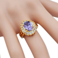 Women Fashion 18K Gold Plated AAA+ Cubic Zirconia Big Solitaire CZ Ring Jewelry