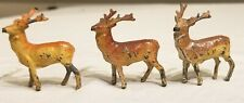 Three Miniature early 1900s Pot Metal Reindeer. So perfect in Detail. Germany.