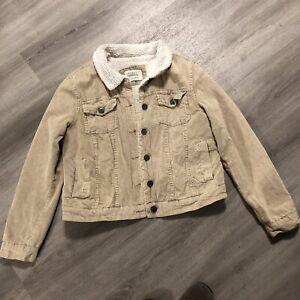 Ashley Outerwear Beige Corduroy Sheerling Lined Trucker Jacket. Ladies Size Larg