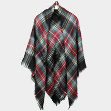 "Scarf Blanket Plaid Check Wrap Around Ruana Square ONE SIZE Shawl 60x60"" DK GRAY"